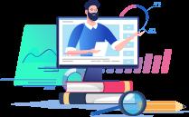 szkolenia online, grafika przedstawiająca komputer iprowadzącego szkolenie naekranie